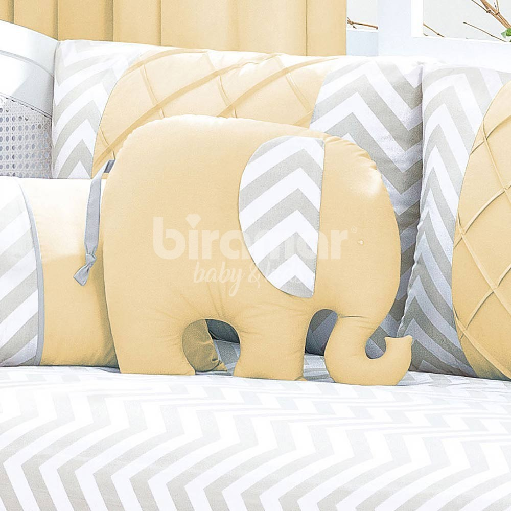 66d585fae656a6 Almofada para Bebê Elefante Brooklyn Chevron Cinza/Amarelo - Biramar ...