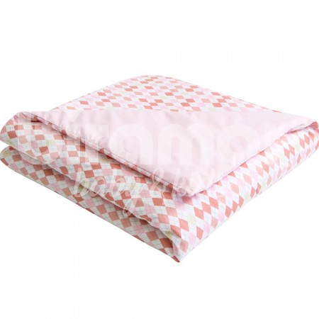 Edredom de Mini Cama e Montessoriano Estampa Dupla Face e Duvet London Rosa