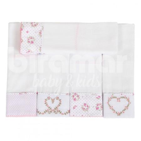 045a5bb82c Conjunto 5 Fraldas para Bebê Cremer Luxo Bordado Tiffany Floral Poá Rosa