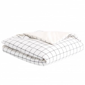 Edredom de Mini Cama e Montessoriano Estampa Dupla Face e Duvet Boston Preto