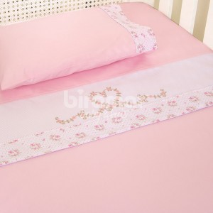 0fb9578b62 Jogo de Lençol para Berço 3 Peças Bordado Tiffany Floral Rosa Percal 180  Fios