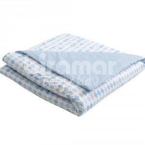 Edredom de Mini Cama e Montessoriano Estampa Dupla Face e Duvet London Azul
