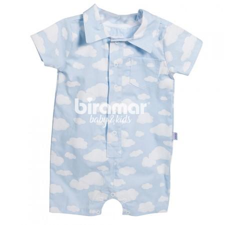 54a0854b4a866d Macacão Curto para Bebê Estampa Gola RN Nuvem Azul - Biramar Baby ...
